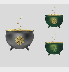leprechaun cauldron set vector image