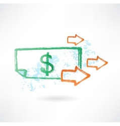 Paper dollar and arrows grunge icon vector image