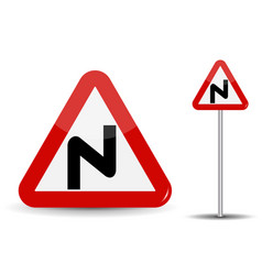 Road sign warning dangerous turns in red triangle vector