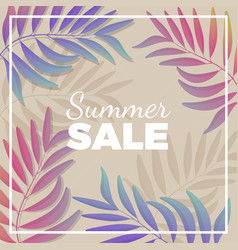 summer sale promotional banner with plant branches vector image vector image