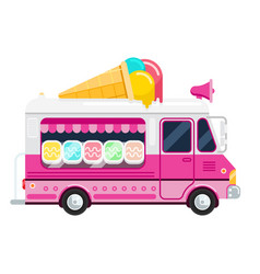 the ice cream pink cute van flat vector image vector image