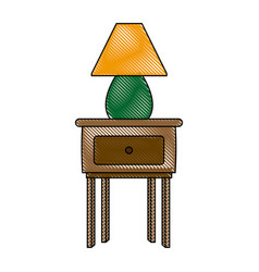 wooden table with lamp decoration furniture icon vector image vector image