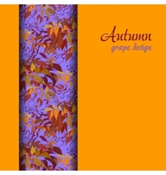 Autumn grape with orange red leaves background vector image