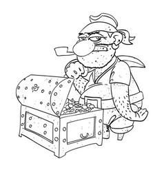 Cartoon image of pirate captain with treasure vector
