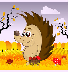 cute hedgehog in the woods in the fall vector image