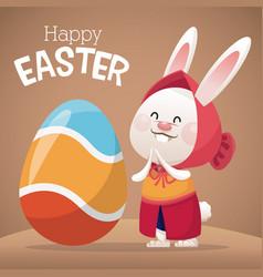 Happy easter card girl bunny egg decoration vector