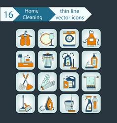 House cleaning color thin line icon set vector