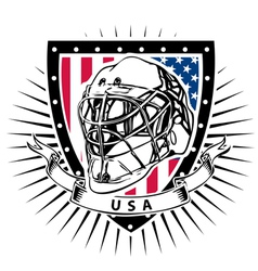 ice hockey helmet shield USA vector image vector image