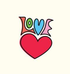 Love heart symbol hand lettering vector