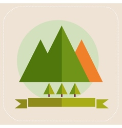 Mountains and trees tourism flat icons vector image