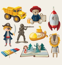 Set of old-fashioned toys vector image vector image