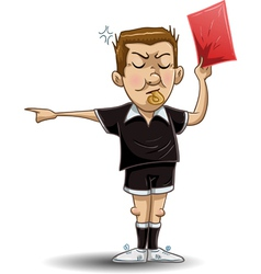 soccer referee holds red card vector image vector image