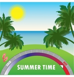 Summer background with palm trees and the sea and vector image vector image