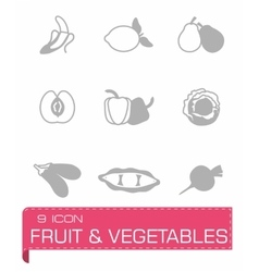 Fruit and Vegetables icon set vector image