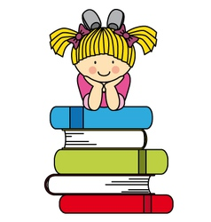 Little girl with many books vector image