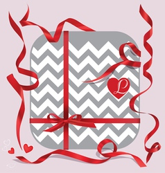 Red ribbons of set gift vector