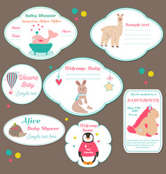 set of baby shower badges invitation tags with vector image vector image