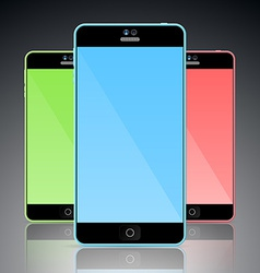 Set of colorful mobile smart phones vector image vector image