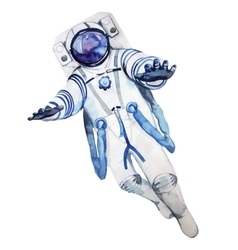 Watercolor astronaut in a spacesuit vector image