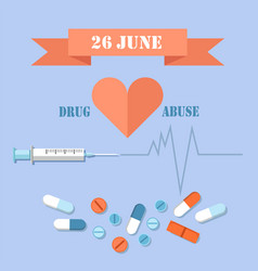 26 june day against drug abuse promotional banner vector