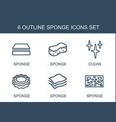 6 sponge icons vector