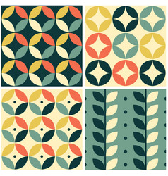 60s and 70s retro seamless pattern set vector image