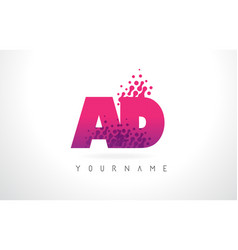 Ad a d letter logo with pink purple color and vector