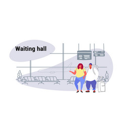 airport passengers overweight fat man woman at vector image