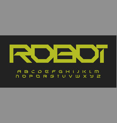 alphabet in robotic technology style geometric vector image