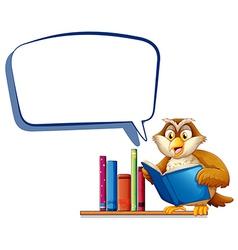 An owl reading a book with an empty rectangular vector image