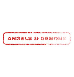 Angels demons rubber stamp vector
