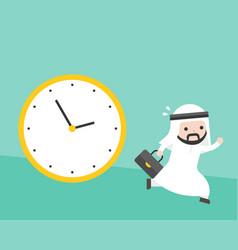 arab businessman running from big clock follow him vector image