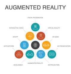 Augmented reality infographic 10 steps concept vector