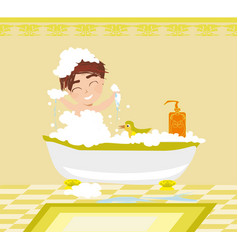 baboy taking bath and playing vector image