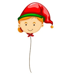 Balloon shape of woman in red hat vector image