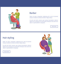 barber shop and hair styling posters hairdresser vector image