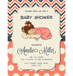 Beautiful baby girl shower card with cute little vector