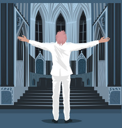 Believing man standing inside cathedral church vector
