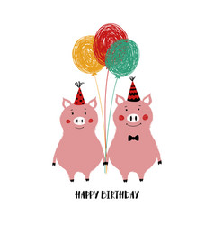 Birthday card with funny pigs vector