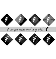 black and white buttons with symbol black and vector image