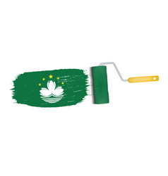 Brush stroke with macau national flag isolated on vector