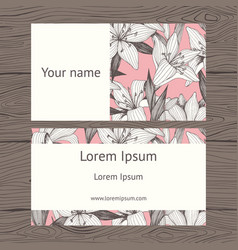 business card floral background for printing vector image