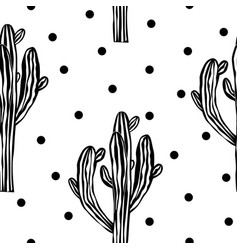 cactus seamless pattern with saguaro cacti fabric vector image