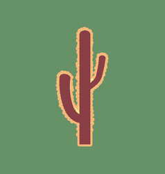 Cactus simple sign cordovan icon and vector