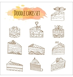 Cake Set of 12 hand drawn vector