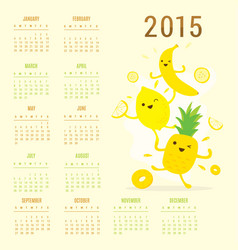 calendar 2015 fruit cute cartoon banana pineapple vector image