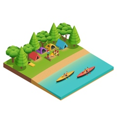 Camping Hiking Isometric Composition vector