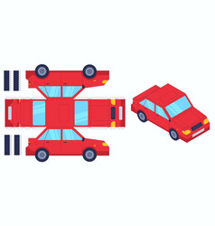 car paper cut toy create toys yourself cut vector image