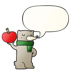 Cartoon bear and apple and speech bubble in vector