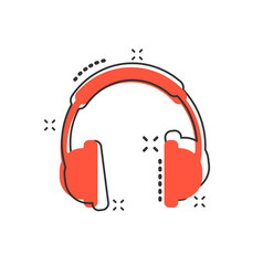 cartoon headphone icon in comic style earphone vector image